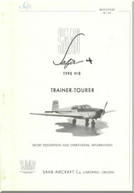 SAAB 91 B Safir Aircraft Technical Brochure Manual -