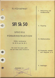 SAAB SFI SK 50 B ,C  Safir Aircraft Flight  Manual - Swedish Language