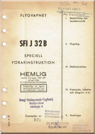 SAAB J 32 D Aircraft Flight Manual - 1958 - ( Swedish  Language ) ,