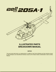 Bell Helicopter 205 A-1  Illustrated Parts Breakdown  Manual -