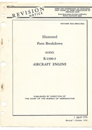 Wright R-1300 -4 Aircraft Engine Illustrated Parts breakdown  Manual - 1956 - NAVAER  02A-35KC-504