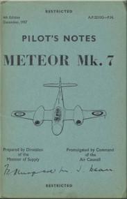 Gloster Meteor Mk. 7   Aircraft  Pilot's Notes Manual A.P. 2210G-P.N.