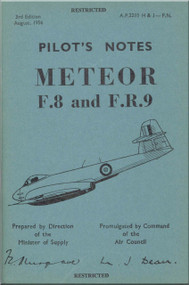 Gloster Meteor Mk. 8 / F.R. 9   Aircraft  Pilot's Notes Manual A.P. 2210 H & J- P.N.