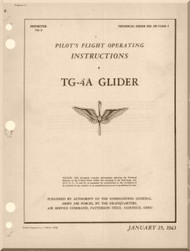 Laster Kauffman  TG-4A  Glider Aircraft Pilot's Handbook Instructions  Manual  - 1943