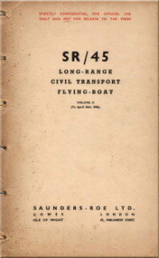 Saunders Roe  ( SaRo ) Princess SR/45 Aircraft  Long-Range Civil Transport Flying Boat   Manual - Volume II