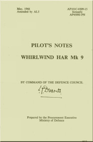 Westland WhirlWind H.A.R. Mk.9 Helicopter Pilot's Notes Manual - AP 4509J-PN