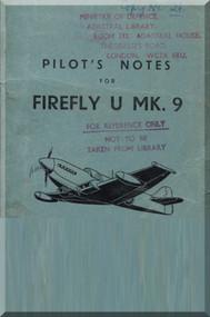 Fairey Firefly  U Mk. 9 Aircraft Pilot's Notes Manual -