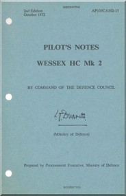 Westland Wessex HC Mk.2  Helicopter Pilot's Notes Manual  - AP 101C102-15 - 1972