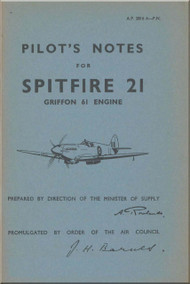 Supermarine Spitfire 21 Aircraft  Pilot's Notes Manual  AP 2816 A  PN  -