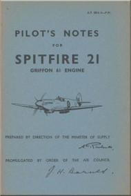 Supermarine Spitfire 21 Aircraft  Pilot's Notes Manual  AP 2816 A  PN  -