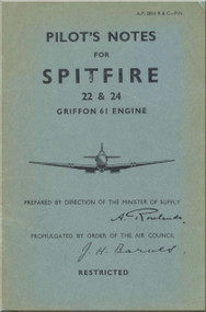 Supermarine Spitfire 22 & 24 Aircraft  Pilot's Notes Manual  AP 2816 B & C    PN  -