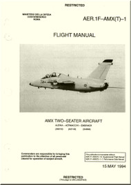 Aeritalia  Aermacchi Embraer AMX Two Seater  Aircraft Flight  Manual, ( English Language )  AER. 1F-AMX(T) -1
