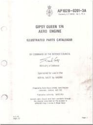 De Havilland Gipsy Queen 174 Aircraft Aero Engine Illustrated Parts Catalog  Manual AP102B-0201-3A - 1977