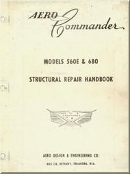 Aero Commander 560 E  &  680 Aircraft Structural Repair Handbook  Manual -
