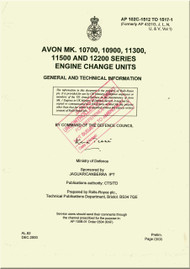Rolls Royce Avon Mk 10700, 10900, 11300, 11500 Aircraft Engine Change Unit Manual - AP 102C-1512 TO 1517-1