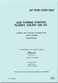 Plessey, Solent Mk.101 Gas Turbine Starter General Technical Information, Minor Repairs Preservation  Manual - AP 103D-0301-16A7