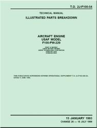 Pratt & Whitney F100-PW-229   Aircraft Engines  Illustrated Parts Catalog  Manual  TO 2J-F100-54 - 1993