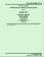 Pratt & Whitney F100-PW-229   Aircraft Engines  Operation and Service  Instructions  Manual  TO 2J-F100-11-2 - 1991