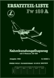 Focke-Wulf  FW 189 A   Aircraft  Illustrated Parts Catalog  Manual, 992 pages  ,  (German Language ) - Ersatzteilliste,  1942 1943,,