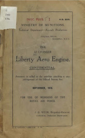 Liberty 12  HP Aircraft Engine Handbook  Manual  - 1918