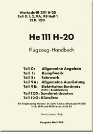 Heinkel  He-111 H 20 Aircraft  Flight Handbook - Flugzeug-Handbuch  - 1944