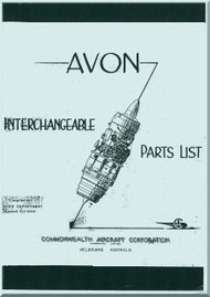 Rolls Royce Avon Aircraft Engines  Interchangeable Parts List  Manual -   CAC
