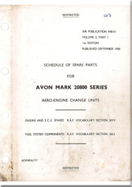Rolls Royce Avon Mark 20800 Series Aircraft Engines  Schedule of Spare Parts -  A.P. 4481H