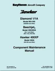 Hawker Raytheon Beechcraft Mitbushi  Mu-300 / Hawker 400 A  / Beechjet 400 Aircraft Component Maintenance Manual.