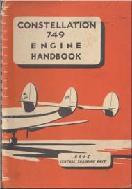 Lockheed Constellation 749 Series Aircraft Engine Handbook Manual -  BOAC