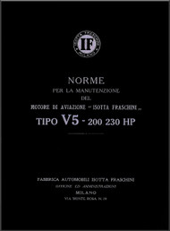 Isotta Fraschini Aviazione  Tipo 5 - 200 230 Hp  Aircraft Engine Manual