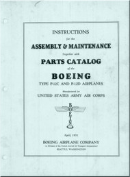 Boeing P-12 C, D     Instructions  Assembly & Maintenance Parts Catalog  Manual, - 1931