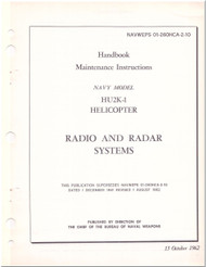 KAMAN HU2K-1 Helicopter Maintenance Manual - Radio and Radar  Systems  -   NAVWEPS 01-2600HCA-2-10 , 1962
