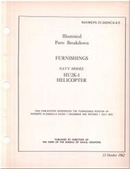 KAMAN HU2K-1 Helicopter Illustrated Parts Breakdown Manual - Furnishing - NAVWEPS 01-2600HCA-4-5 , 1962