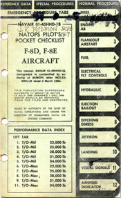 Vought F-8 D, E  Aircraft Pilot's Pocket Checklist Manual - NAVAIR 01-45HHD-1B