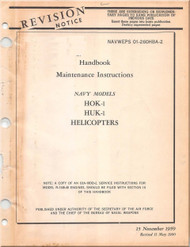 KAMAN HOK -1, HUK-1 Helicopter Maintenance   Manual  AN  01-260HB-2