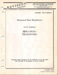 KAMAN HOK -1, HUK-1 Helicopter Illustrated Parts Breakdown  Manual  AN  01-260HB-4