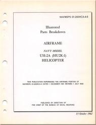 KAMAN HU2K-1 UH-2A  Helicopter Illustrated Parts Breakdown - Airframe -  Manual - NAVWEPS 01-2600HCA-4-6 1962