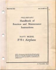 Grumman F7F-1 Aircraft Erection Maintenance  Manual - 01-85FA-2 - 1944