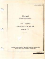 Grumman F9F-6, -6P, -7, -8, 8B, -8P, -8T  Aircraft Illustrated Pars Breakdown  Manual - 01-85FGD4 - 1955