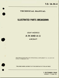 Mc Donnell Douglas A-1 H , J Aircraft Illustrated Parts Breakdown Manual - 1A-1H-4 - 1969
