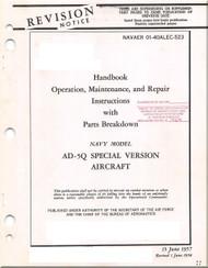 Mc Donnell Douglas AD-5Q Special Version , Aircraft Operation Maintenance Repair IPB Manual - 01-40ALEC-523 - 1957