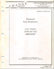 Mc Donnell Douglas A-1 H , J Aircraft Illustrated Parts Breakdown Manual - 01-40ALF-534- 1957