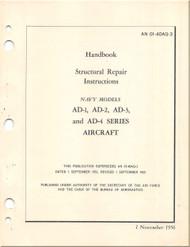 Mc Donnell Douglas AD-1 , -2 , -3, , -4, Aircraft Structural Repair Manual - AN 01-40AQ-3 - 1956