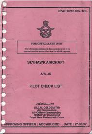 Mc Donnell Douglas A-4 K / TA-4 K Aircraft Pilot's Checklist - Emergency Manual NZAP 6213.005-1CL -1997