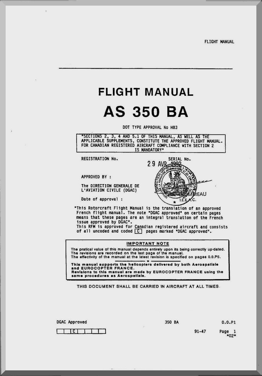 Aerospatiale AS 350 BA Helicopter Flight Manual ( English