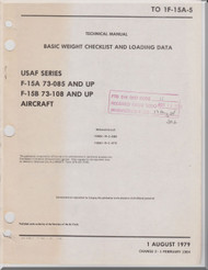 Mc Donnell Douglas F-15 A B Aircraft Basic Weight Check List and Loading Data Manual - T.O. 1F-15A-5 - 1979