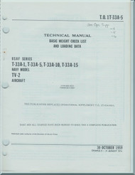 Lockheed T-33 A-1, A-5, A-10, A-15. TV-2 Aircraft Basic Weight Check List and Loading Data Manual - 1959