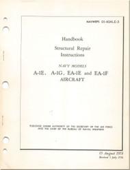 Mc Donnell Douglas A-1 E, G, EA-1E,F Aircraft Structural Repair Manual - 01-40ALE-3 - 1956