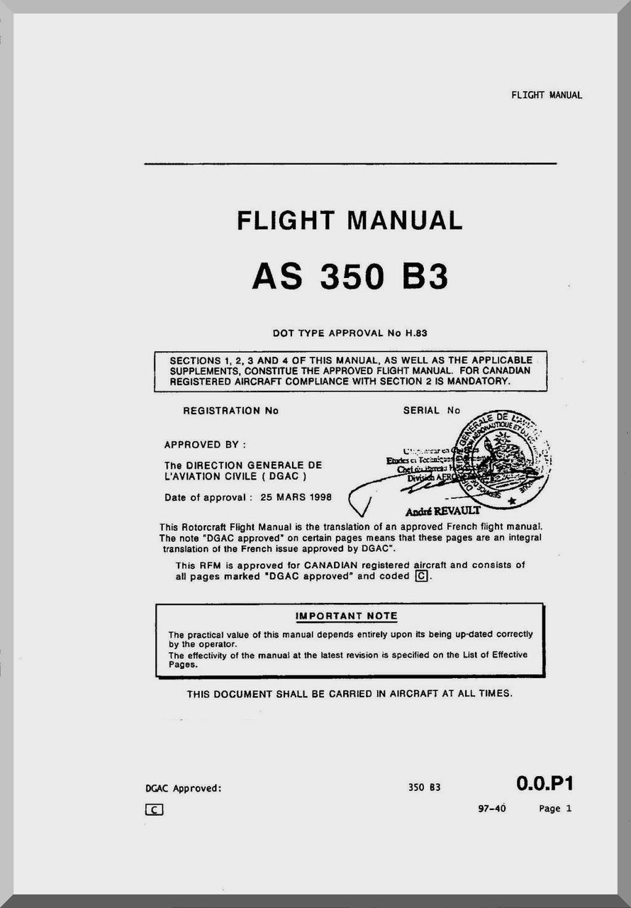 Aerospatiale AS 350 B3 Helicopter Flight Manual ( English Language )
