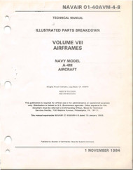 Mc Donnell Douglas A-4 M Aircraft Illustrated Parts Breakdown Manual - Airframe -01-40AVM -4-8- 1984
